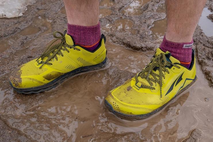 Running in the mud in Altra Lone Peak 5