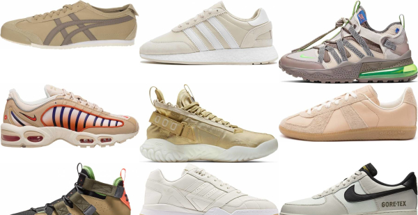 buy beige leather sneakers for men and women