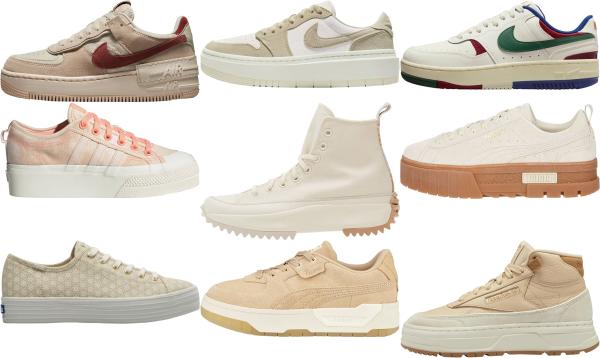 buy beige platform sneakers for men and women