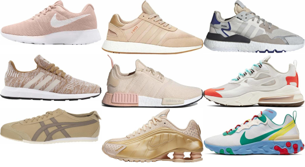 buy beige running sneakers for men and women