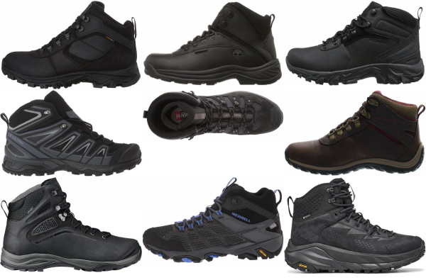 buy black leather hiking boots for men and women
