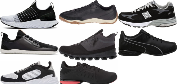 buy black leather running shoes for men and women