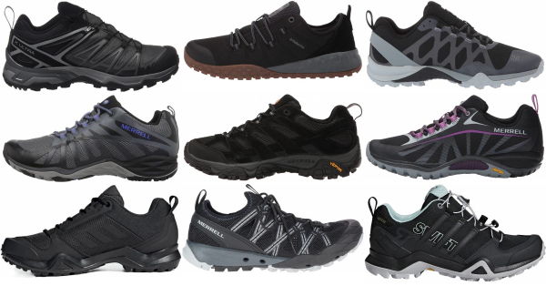buy black lightweight hiking shoes for men and women