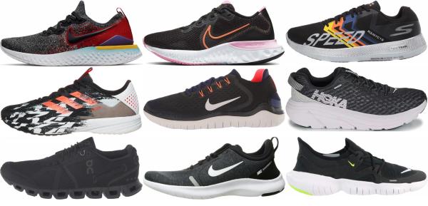 buy black lightweight running shoes for men and women