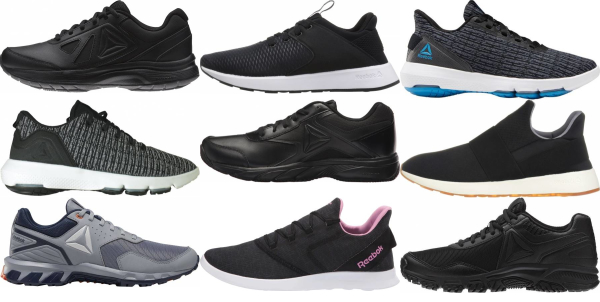 buy black reebok walking shoes for men and women