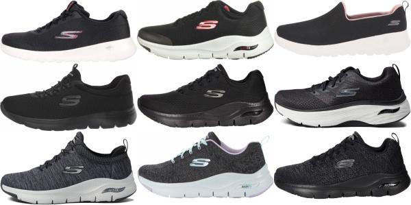 buy black skechers walking shoes for men and women