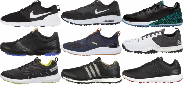 buy black spikeless golf shoes for men and women