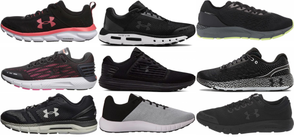 buy black under armour running shoes for men and women