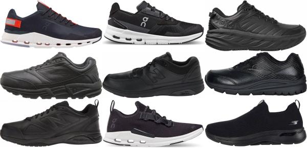 buy black work walking shoes for men and women