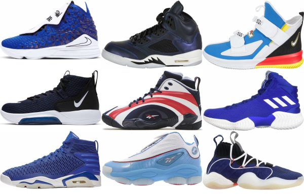 buy blue high basketball shoes for men and women