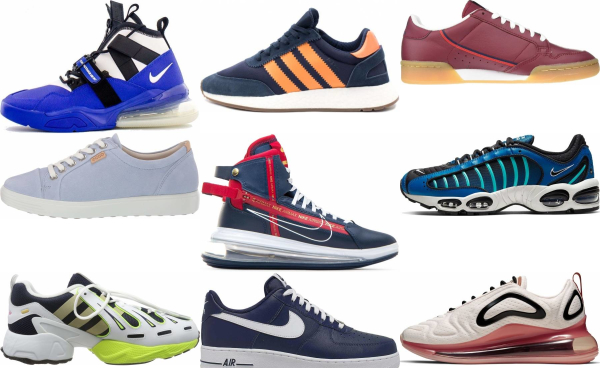 buy blue leather sneakers for men and women