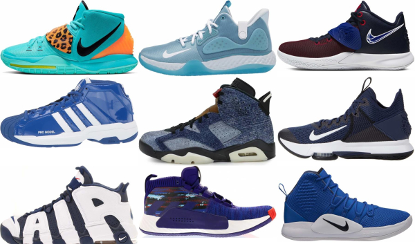 buy blue mid basketball shoes for men and women