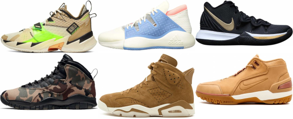 buy brown mid basketball shoes for men and women