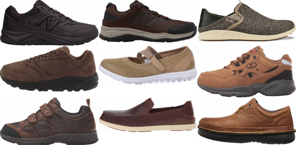 buy brown orthotic friendly walking shoes for men and women