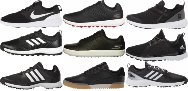 buy cheap black golf shoes for men and women