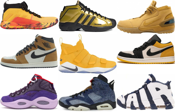 buy gold basketball shoes for men and women