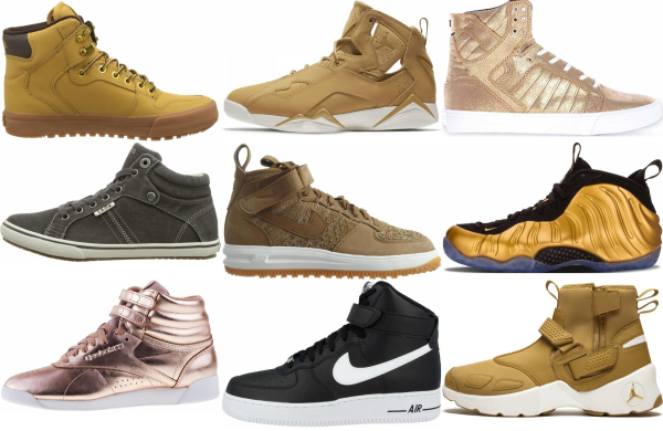 buy gold high top sneakers for men and women