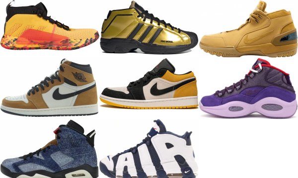 buy gold lace-up basketball shoes for men and women