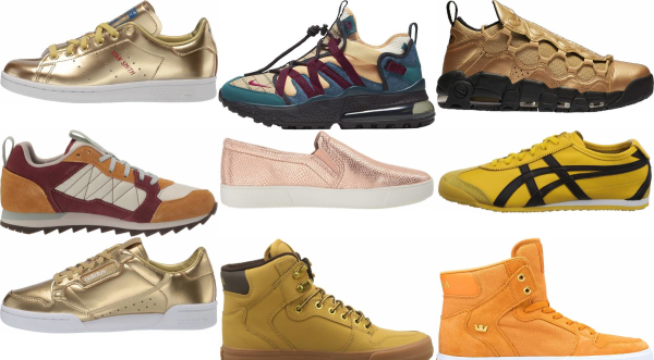 buy gold leather sneakers for men and women