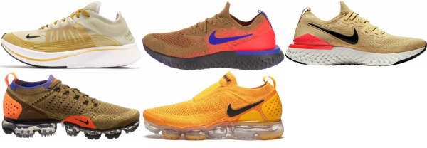 buy gold nike running shoes for men and women