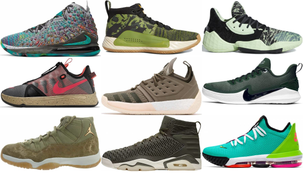 buy green lace-up basketball shoes for men and women