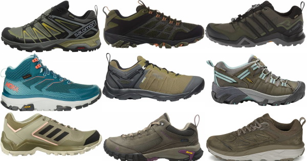 buy green waterproof hiking shoes for men and women