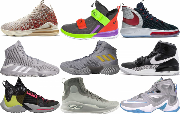 buy grey high basketball shoes for men and women