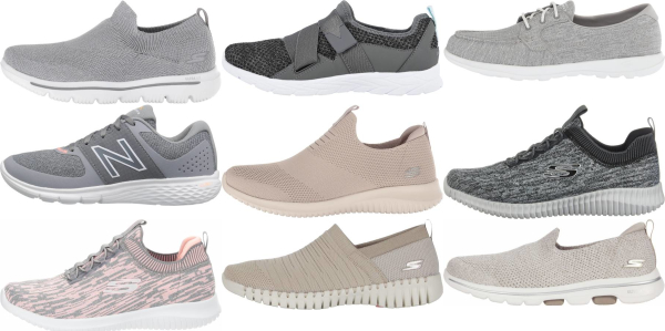 buy grey knit upper walking shoes for men and women