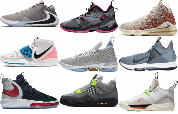 buy grey lace-up basketball shoes for men and women
