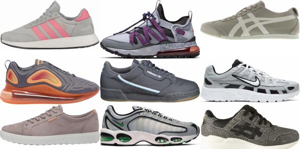buy grey leather sneakers for men and women