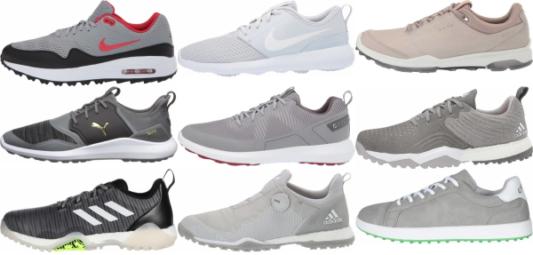 buy grey spikeless golf shoes for men and women