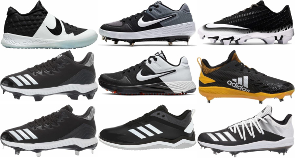 buy lace-up black baseball cleats for men and women