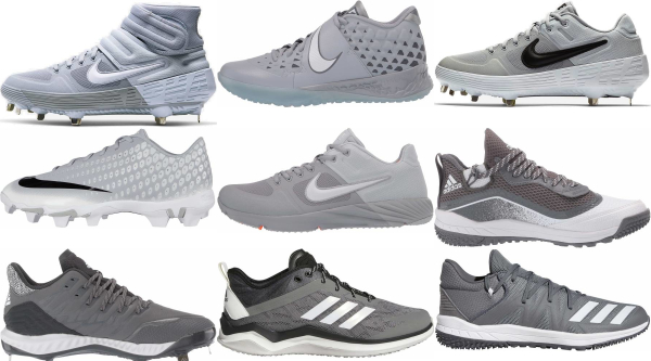 buy lace-up grey baseball cleats for men and women