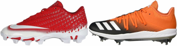 buy lace-up orange baseball cleats for men and women