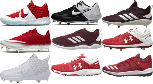 buy lace-up red baseball cleats for men and women