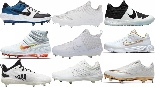 buy lace-up white baseball cleats for men and women