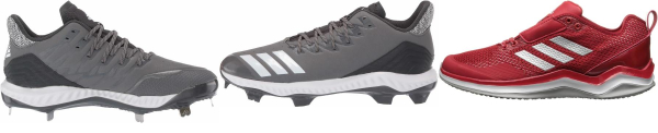 buy leather grey baseball cleats for men and women