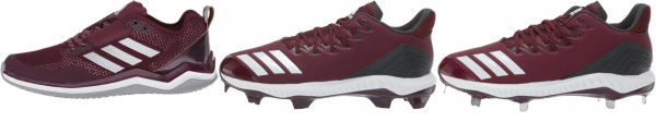 buy leather red baseball cleats for men and women