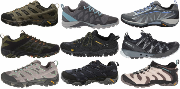 buy merrell vibram sole hiking shoes for men and women