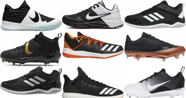 buy mesh black baseball cleats for men and women