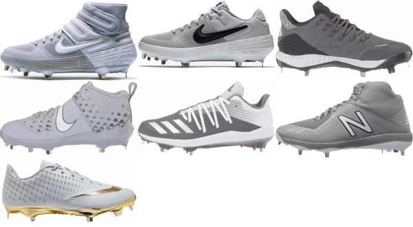 buy metal grey baseball cleats for men and women