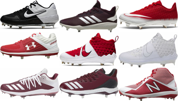 buy metal red baseball cleats for men and women