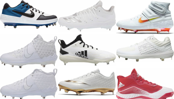 buy metal white baseball cleats for men and women