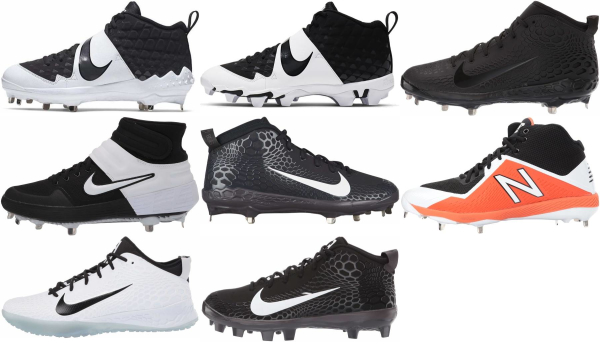 buy mid black baseball cleats for men and women