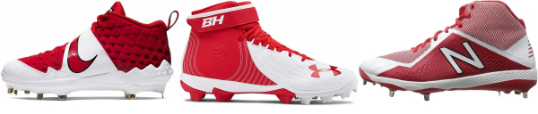 buy mid red baseball cleats for men and women