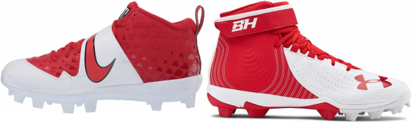 buy mixed red baseball cleats for men and women