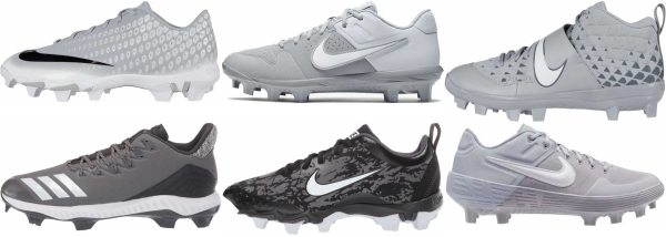 buy molded plastic grey baseball cleats for men and women
