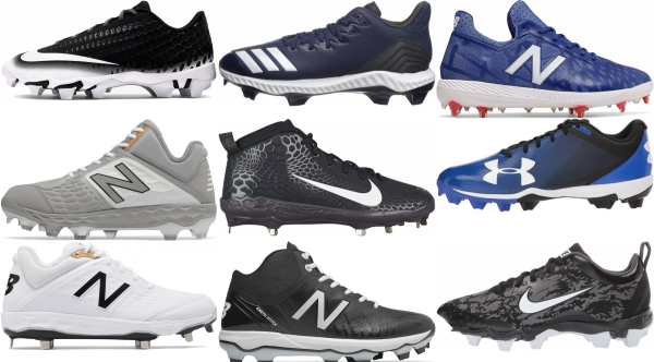 buy molded plastic lace-up baseball cleats for men and women
