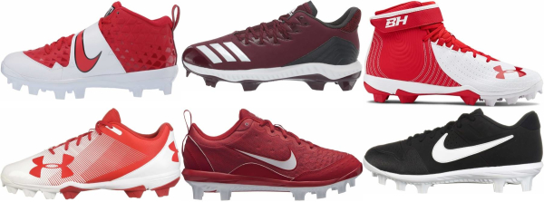 buy molded plastic red baseball cleats for men and women