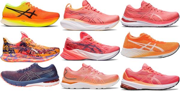buy orange asics running shoes for men and women